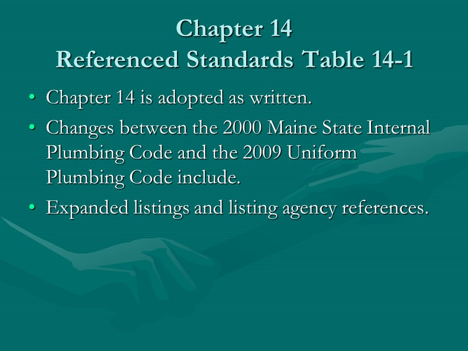 Chapter 14 Referenced Standards Table 14-1