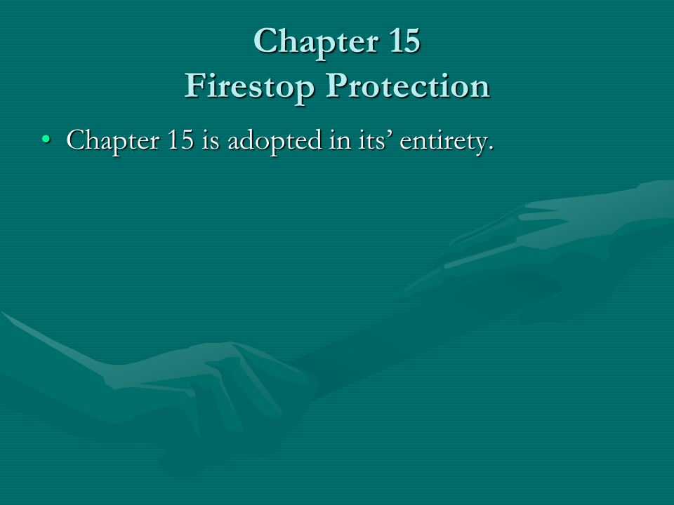 Chapter 15 Firestop Protection