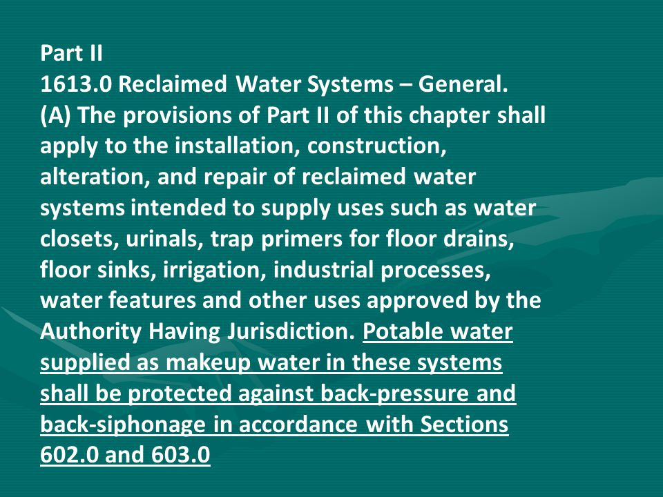 1613.0 Reclaimed Water Systems – General.