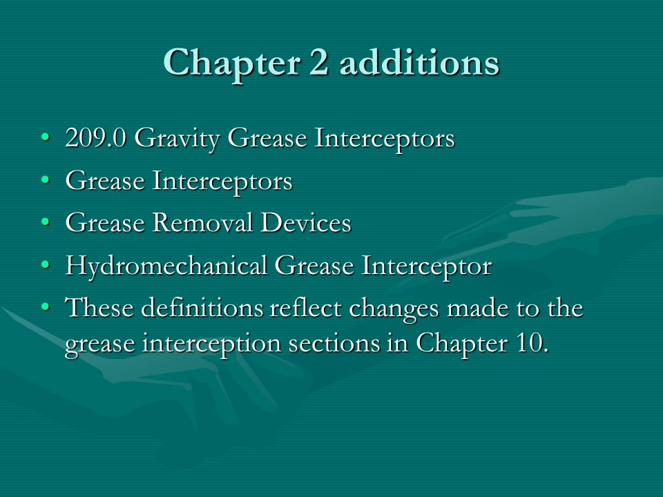 Chapter 2 additions 209.0 Gravity Grease Interceptors