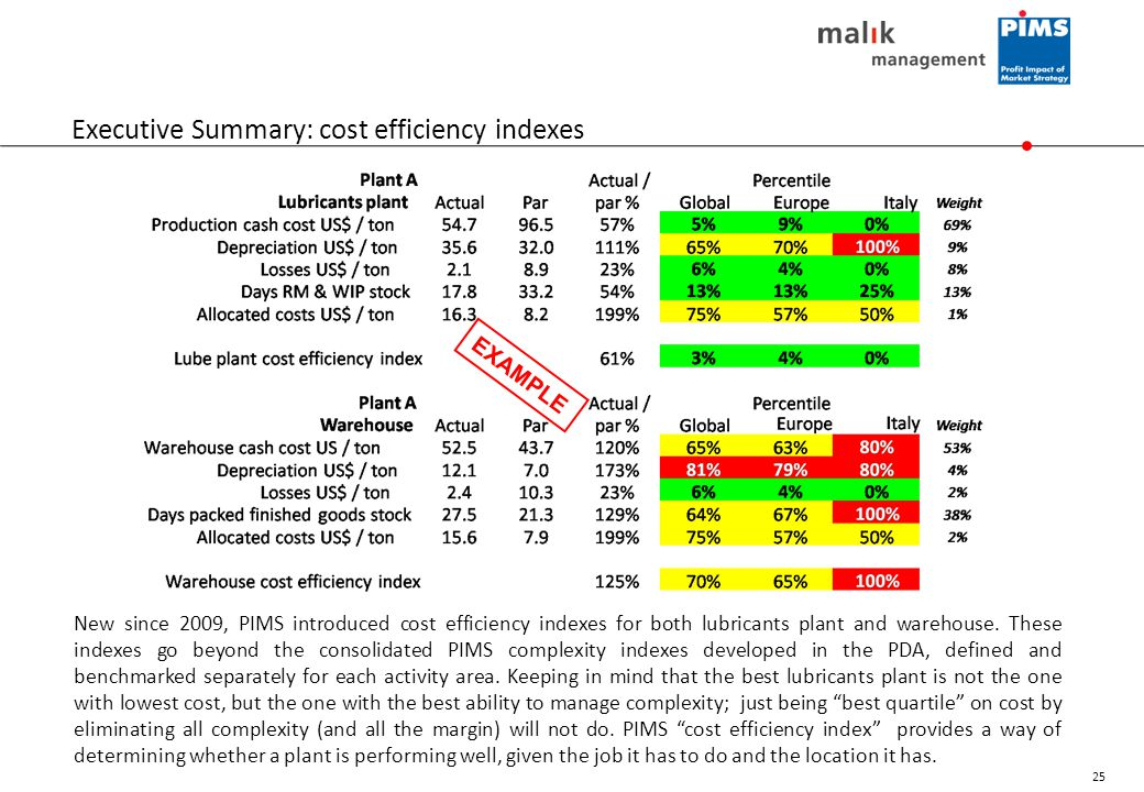 Executive Summary: cost efficiency indexes