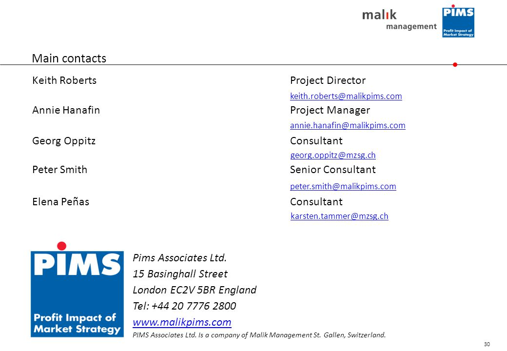 Main contacts Keith Roberts Project Director