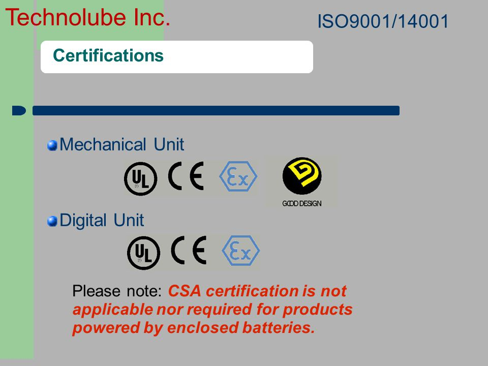 ISO9001/14001 Certifications Mechanical Unit Digital Unit 2424