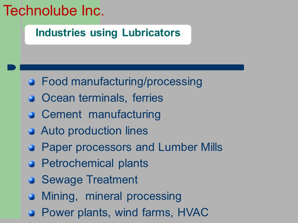 Industries using Lubricators