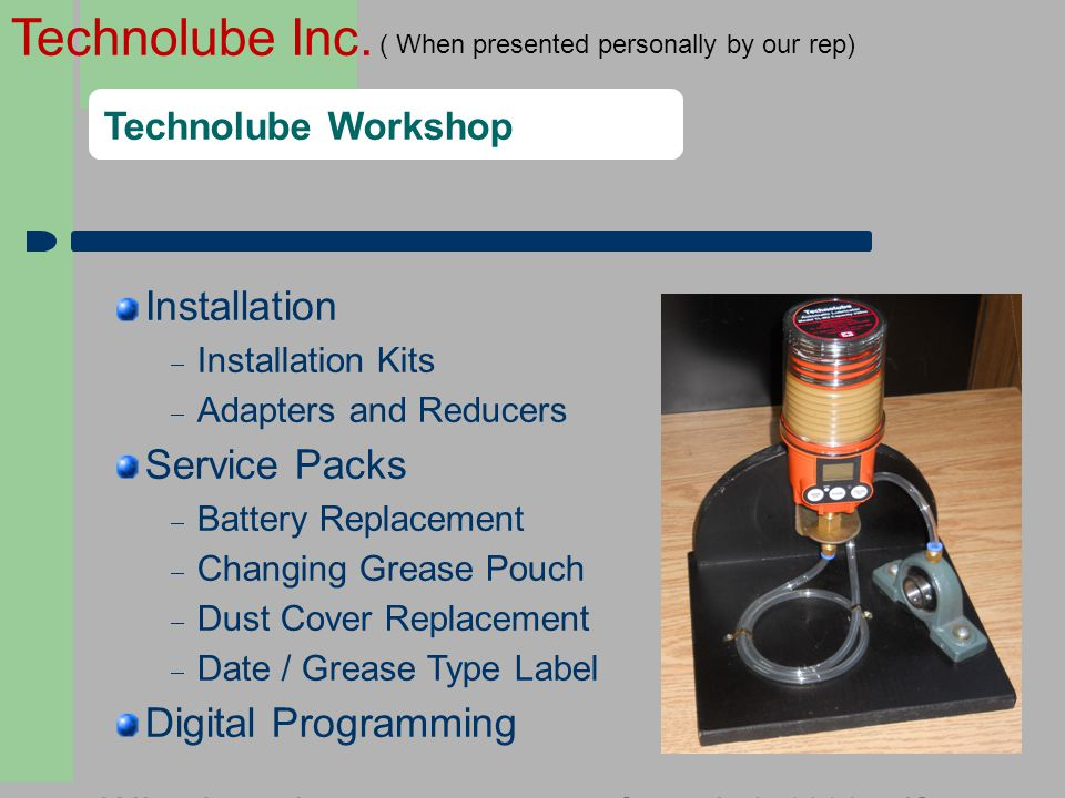 Installation Service Packs Digital Programming Technolube Workshop