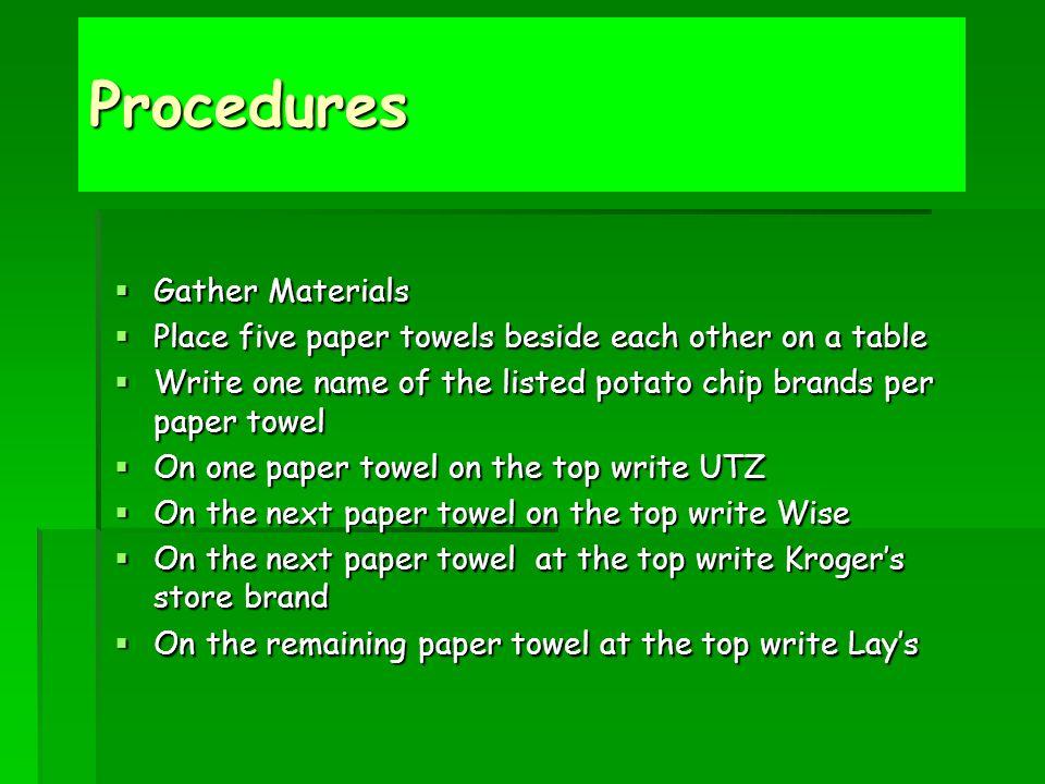Procedures Gather Materials