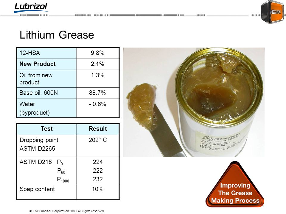 Lithium Grease 12-HSA 9.8% New Product 2.1% Oil from new product 1.3%