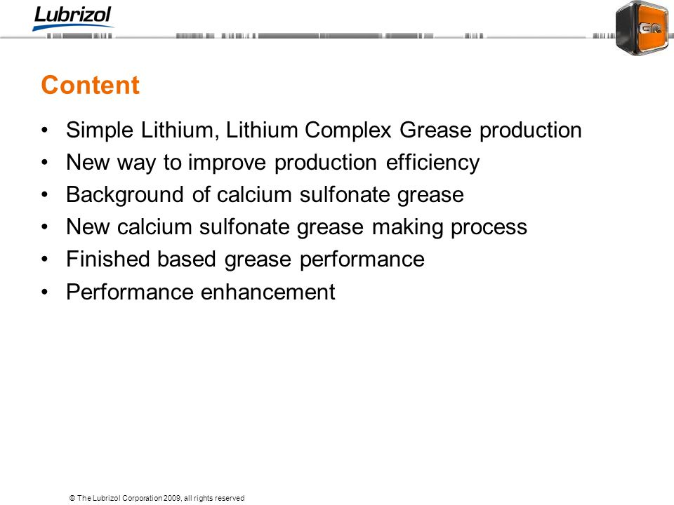 Content Simple Lithium, Lithium Complex Grease production