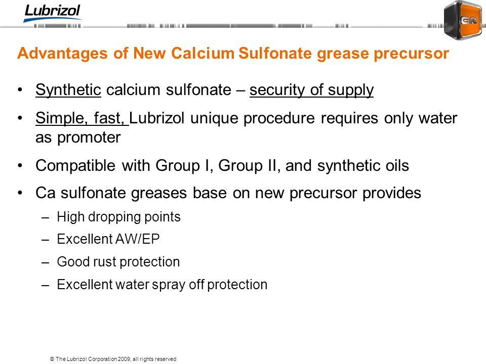 Advantages of New Calcium Sulfonate grease precursor