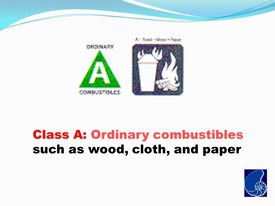 Class A: Ordinary combustibles such as wood, cloth, and paper
