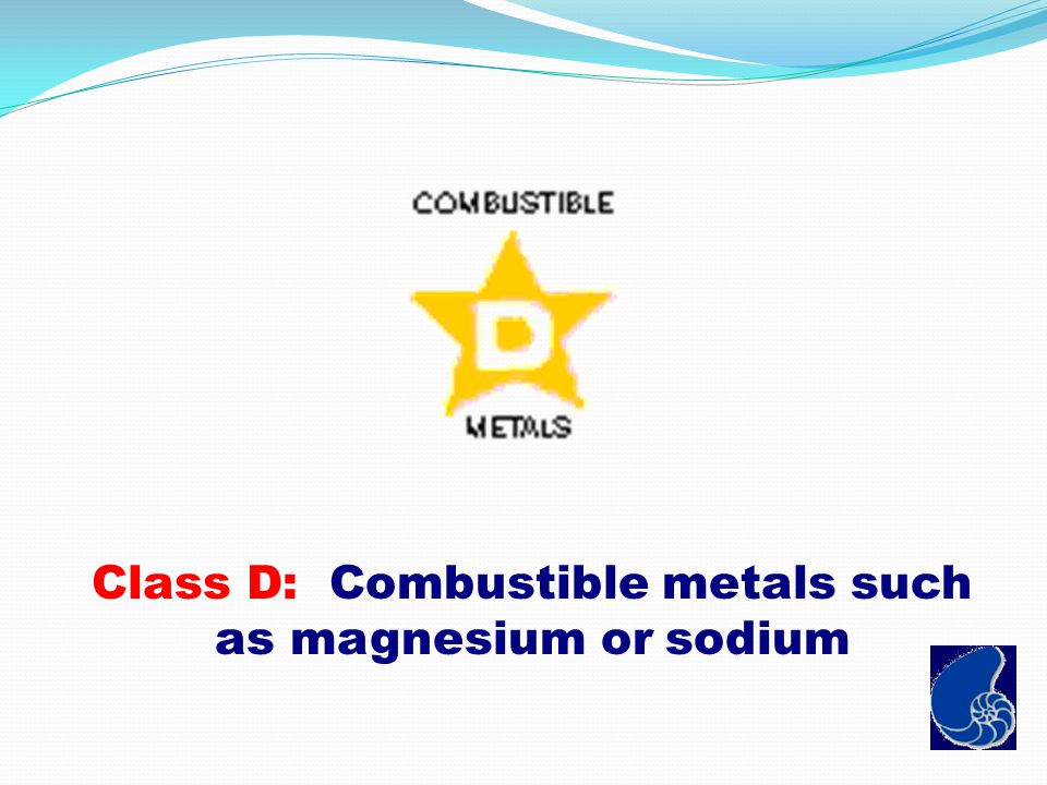 Class D: Combustible metals such as magnesium or sodium