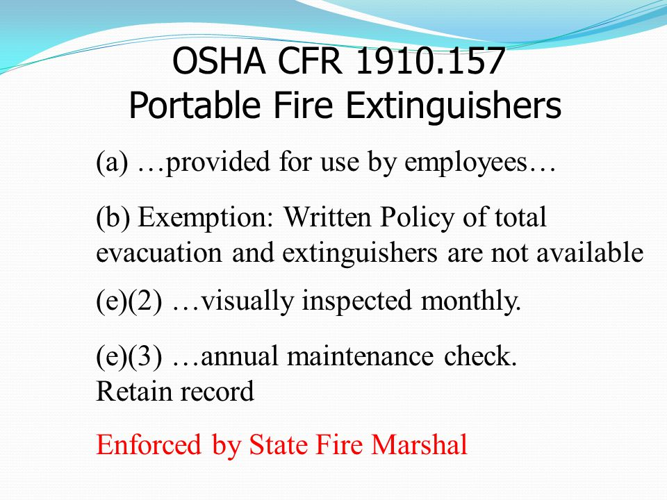 OSHA CFR 1910.157 Portable Fire Extinguishers