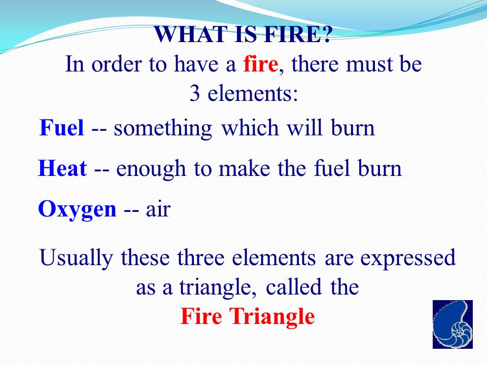 In order to have a fire, there must be 3 elements: