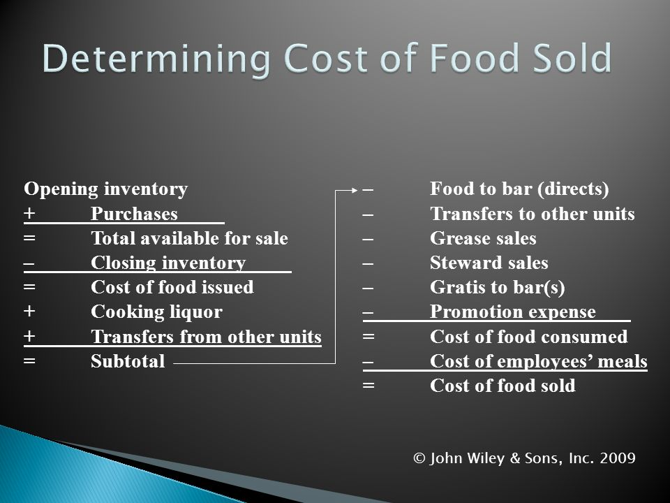 Determining Cost of Food Sold