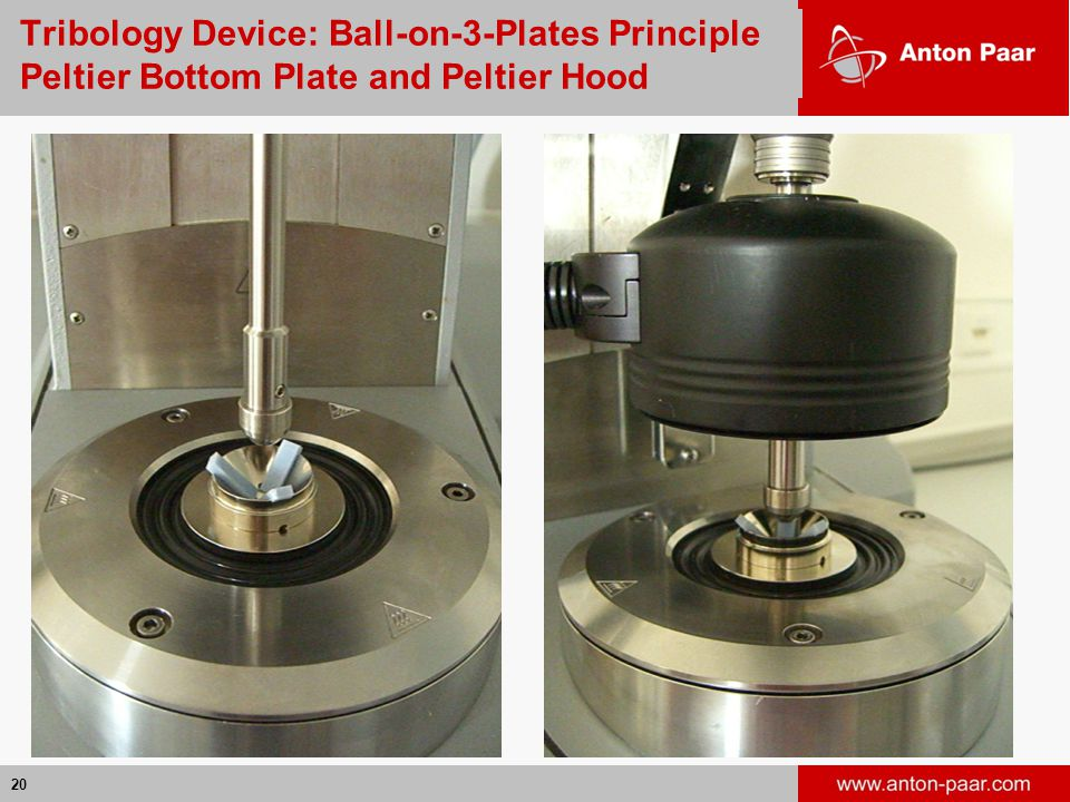 Tribology Device: Ball-on-3-Plates Principle Peltier Bottom Plate and Peltier Hood