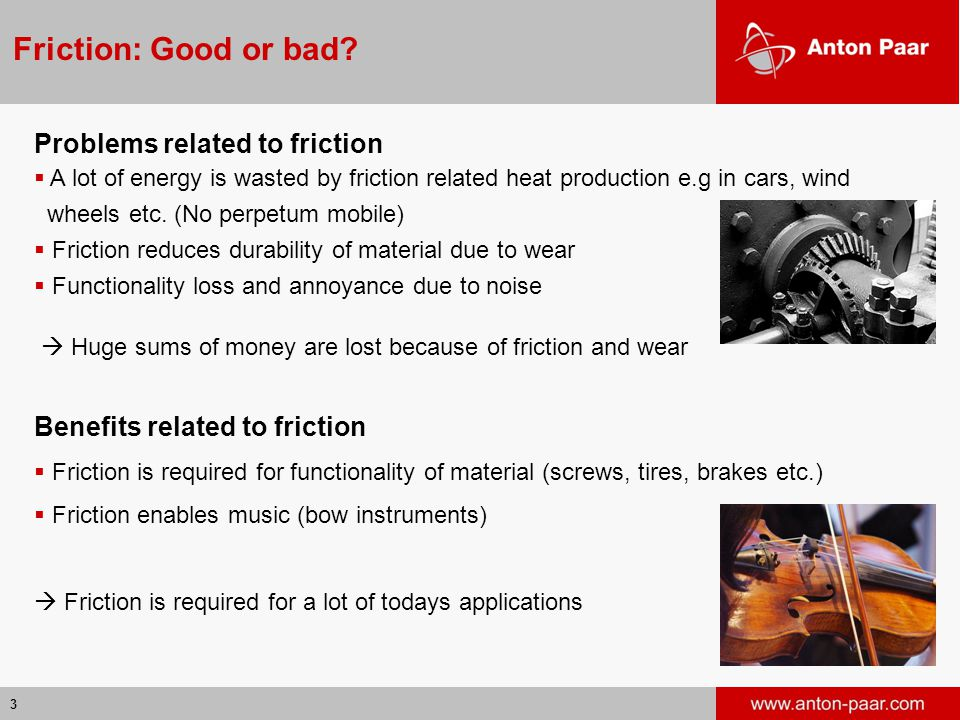 Friction: Good or bad Problems related to friction