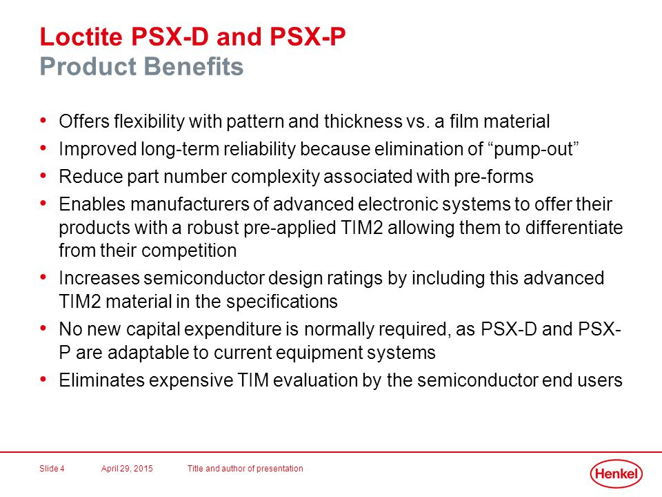 Loctite PSX-D and PSX-P Product Benefits