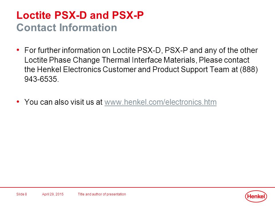Loctite PSX-D and PSX-P Contact Information