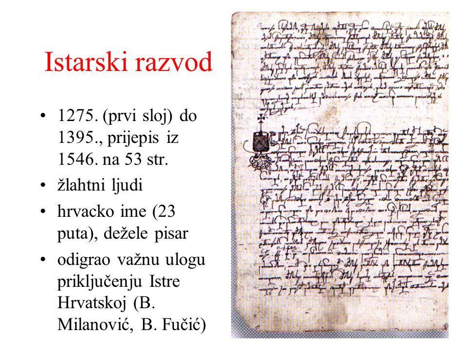 Istarski razvod 1275. (prvi sloj) do 1395., prijepis iz 1546. na 53 str. žlahtni ljudi. hrvacko ime (23 puta), dežele pisar.
