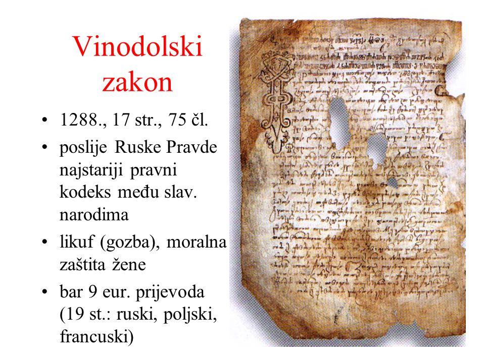 Vinodolski zakon 1288., 17 str., 75 čl.