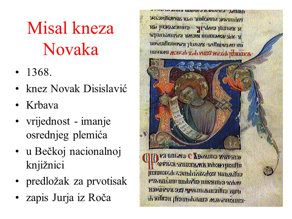 Misal kneza Novaka 1368. knez Novak Disislavić Krbava