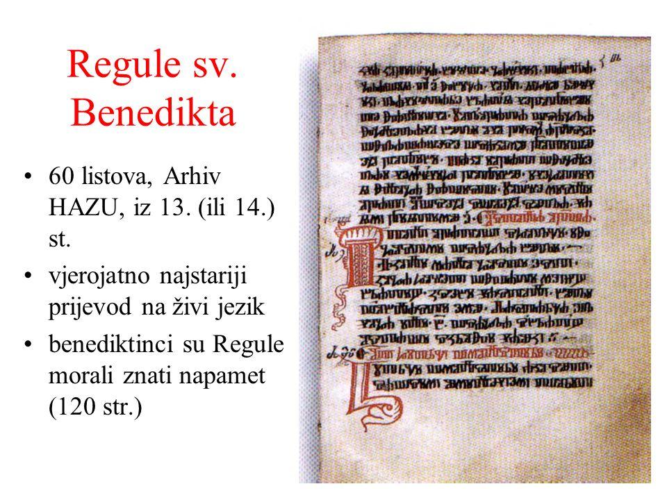 Regule sv. Benedikta 60 listova, Arhiv HAZU, iz 13. (ili 14.) st.