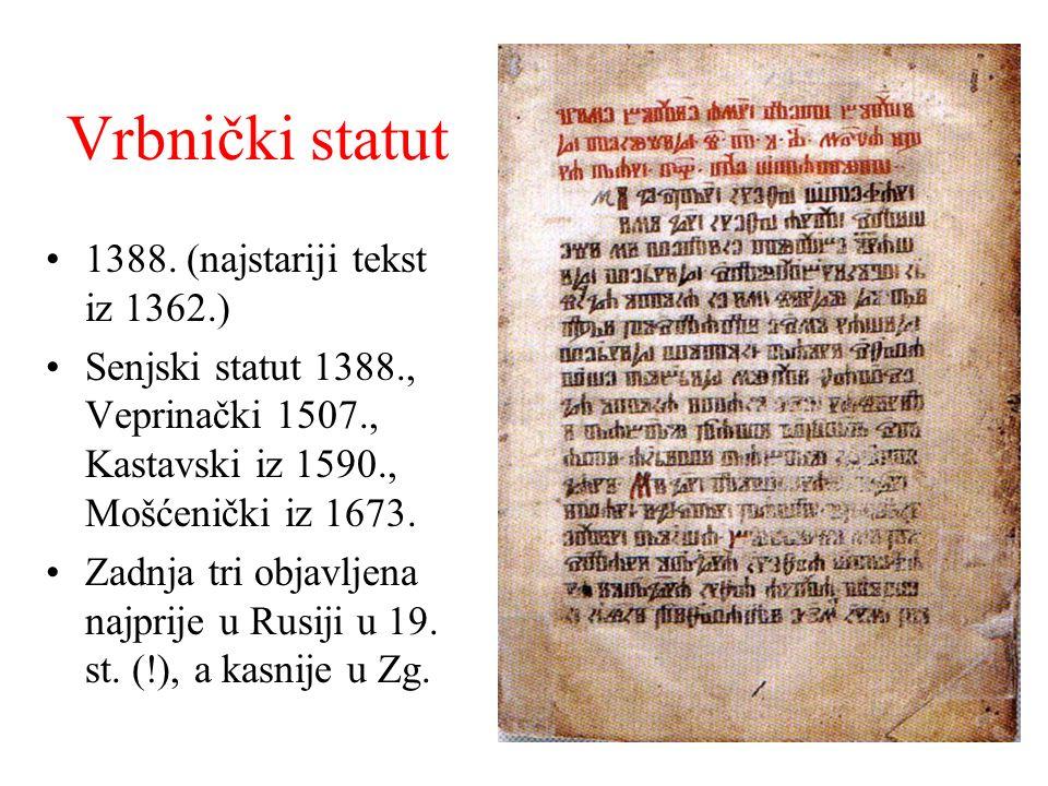 Vrbnički statut 1388. (najstariji tekst iz 1362.)