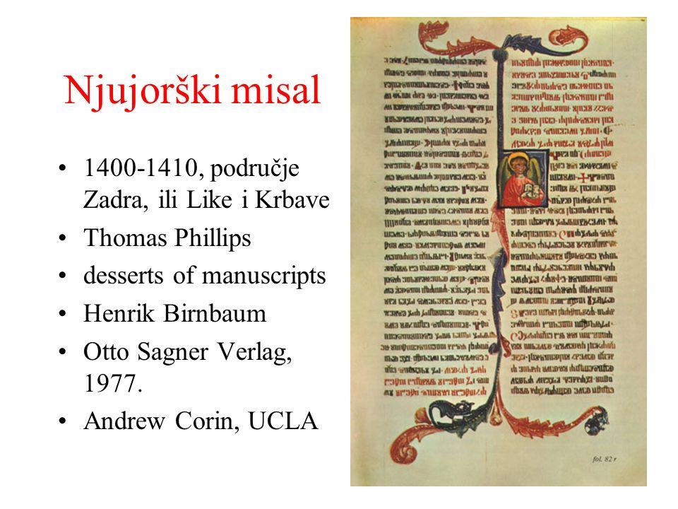 Njujorški misal 1400-1410, područje Zadra, ili Like i Krbave