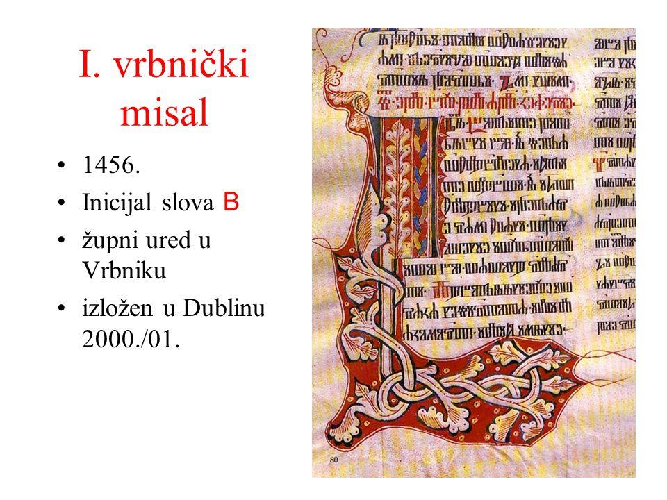 I. vrbnički misal 1456. Inicijal slova B župni ured u Vrbniku