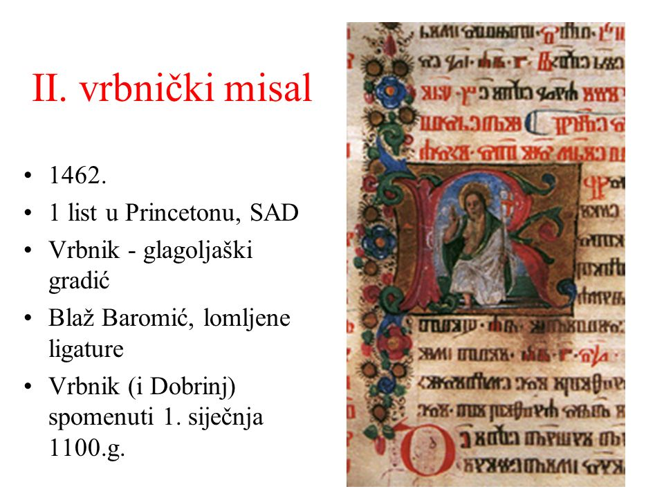 II. vrbnički misal 1462. 1 list u Princetonu, SAD
