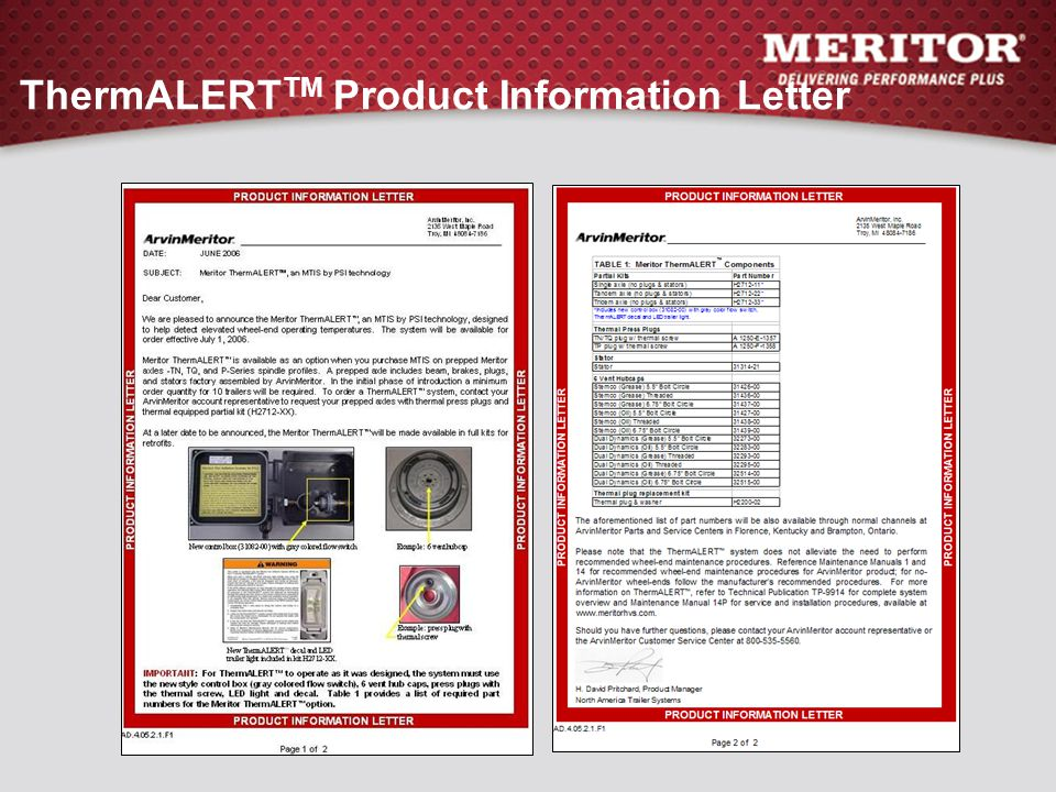 ThermALERTTM Product Information Letter