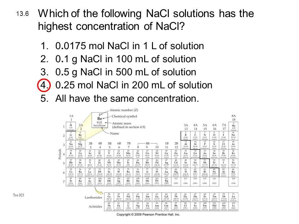 Which of the following NaCl solutions has the highest concentration of NaCl