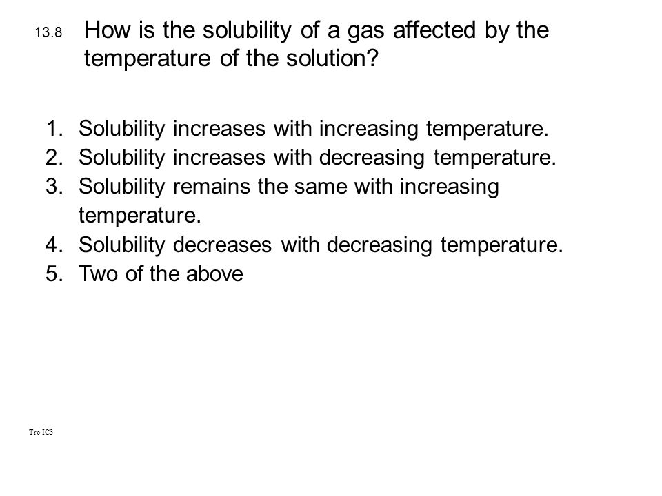 How is the solubility of a gas affected by the temperature of the solution