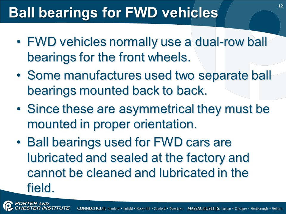 Ball bearings for FWD vehicles