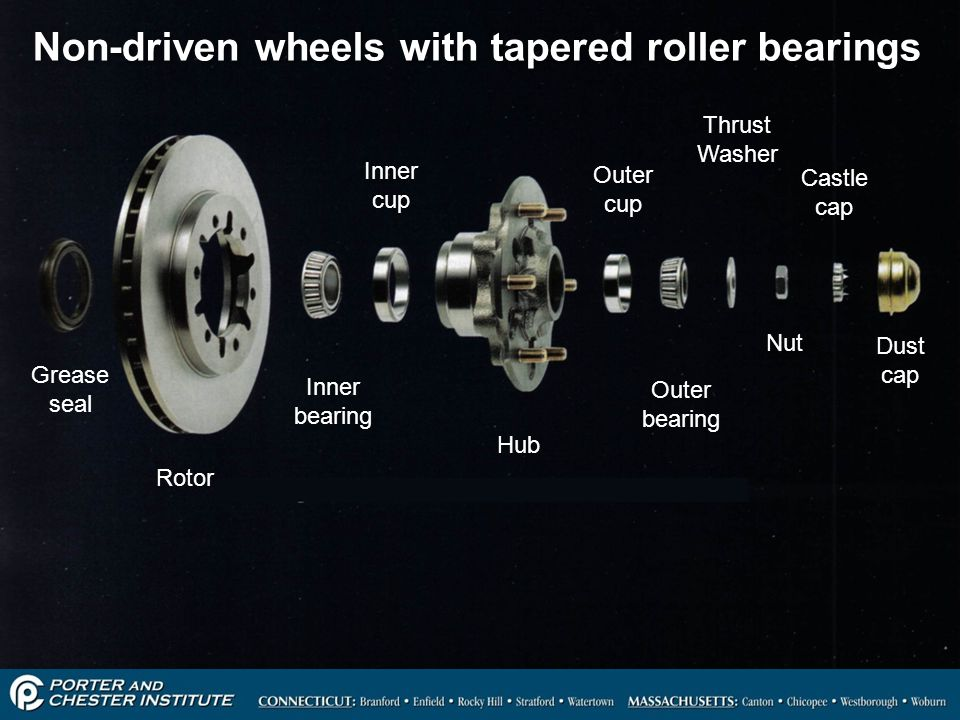 Non-driven wheels with tapered roller bearings