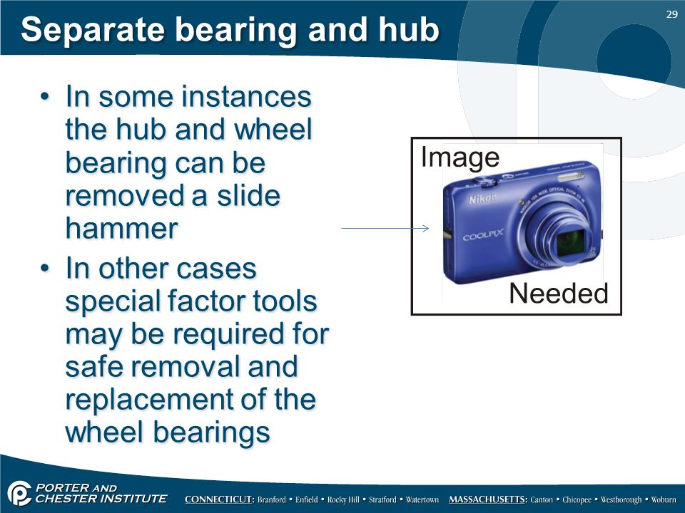 Separate bearing and hub