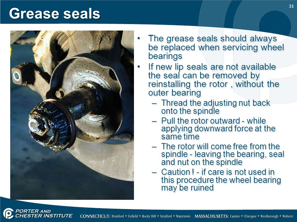 Grease seals The grease seals should always be replaced when servicing wheel bearings.