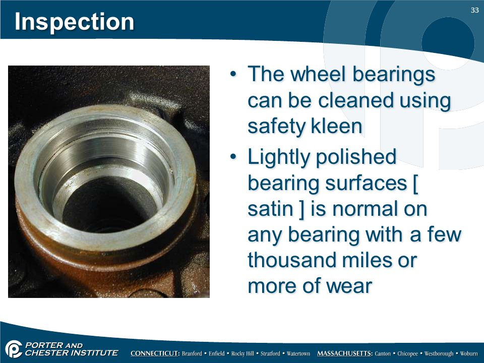 Inspection The wheel bearings can be cleaned using safety kleen