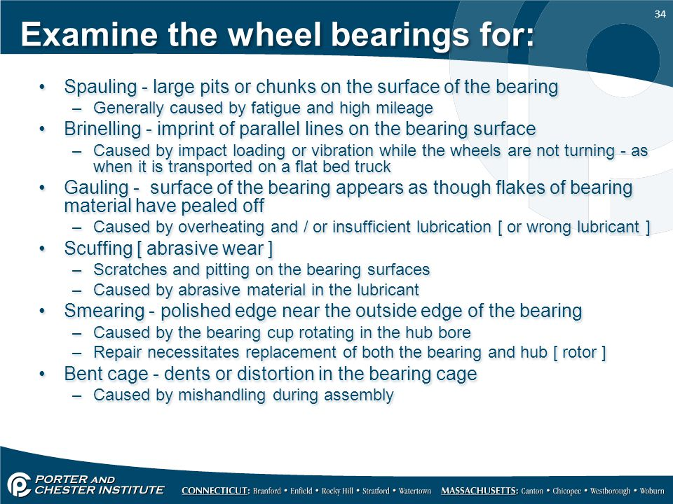Examine the wheel bearings for: