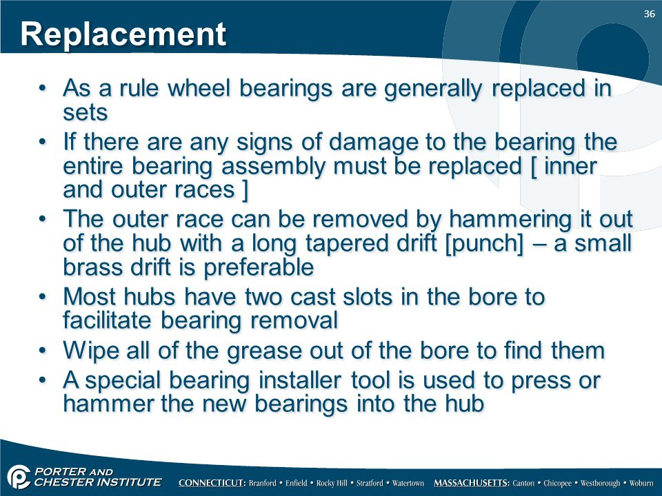 Replacement As a rule wheel bearings are generally replaced in sets