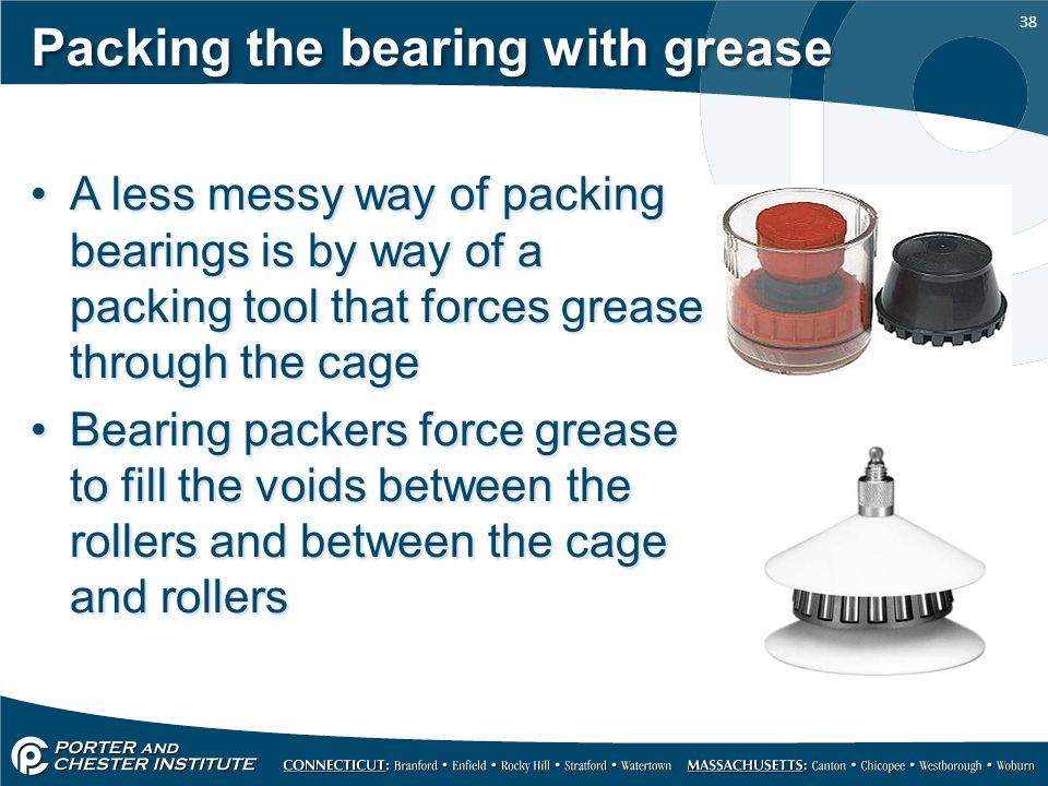Packing the bearing with grease