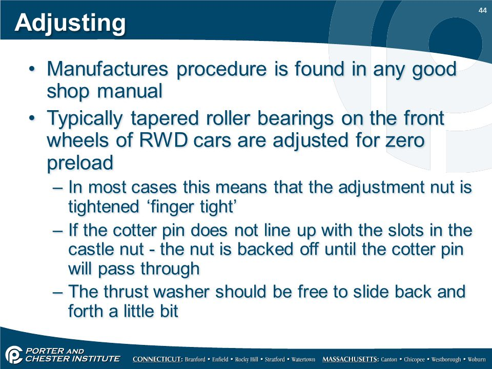Adjusting Manufactures procedure is found in any good shop manual