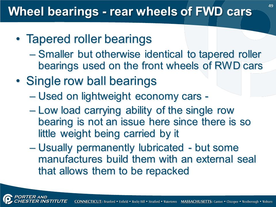Wheel bearings - rear wheels of FWD cars