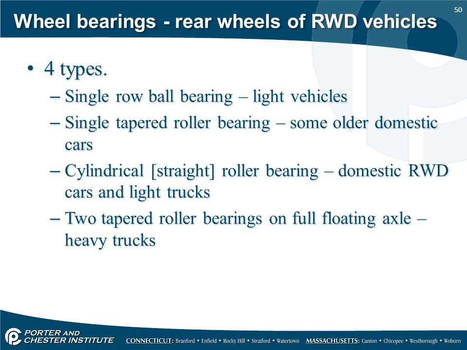 Wheel bearings - rear wheels of RWD vehicles