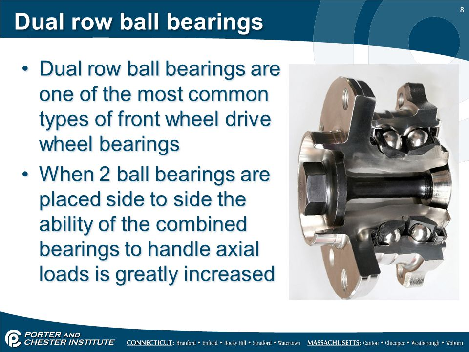 Dual row ball bearings Dual row ball bearings are one of the most common types of front wheel drive wheel bearings.