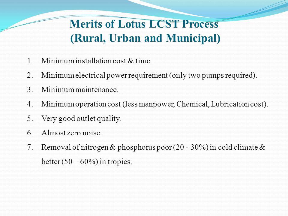 Merits of Lotus LCST Process (Rural, Urban and Municipal)