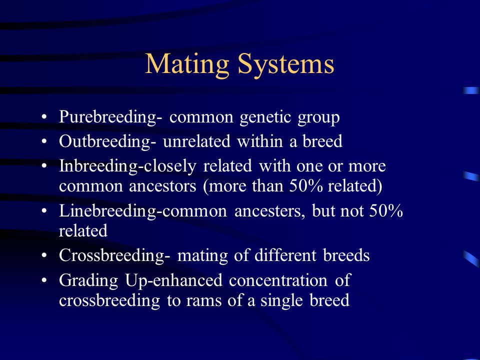 Mating Systems Purebreeding- common genetic group