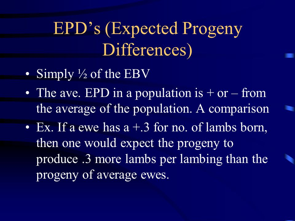 EPD's (Expected Progeny Differences)