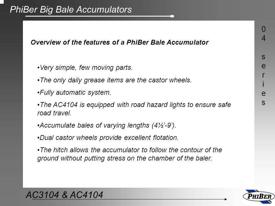 Overview of the features of a PhiBer Bale Accumulator