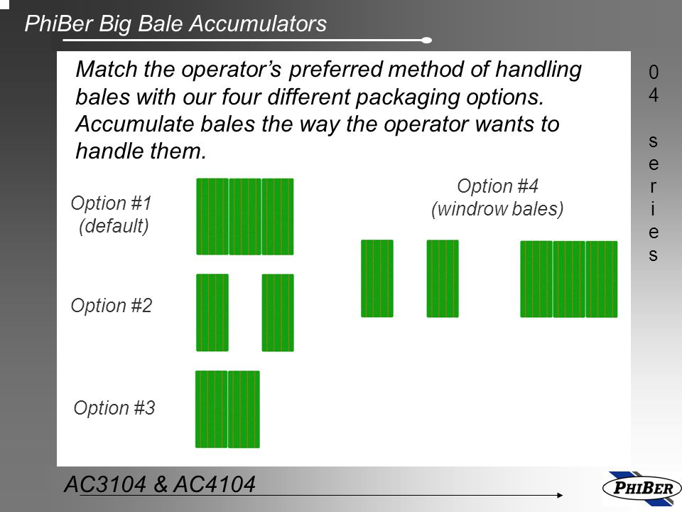 Match the operator's preferred method of handling bales with our four different packaging options. Accumulate bales the way the operator wants to handle them.